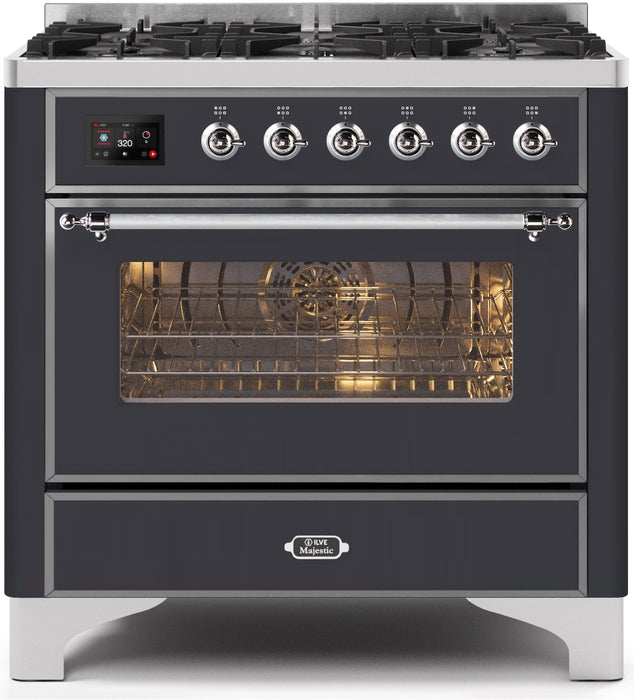 36 Inch Matte Graphite Dual Fuel Natural Gas Freestanding Range Majestic II Series By ILVE - Ace home goods