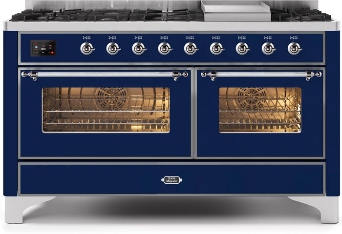 60 Inch Blue Dual Fuel Natural Gas Freestanding Range Majestic II Series By ILVE - Ace home goods