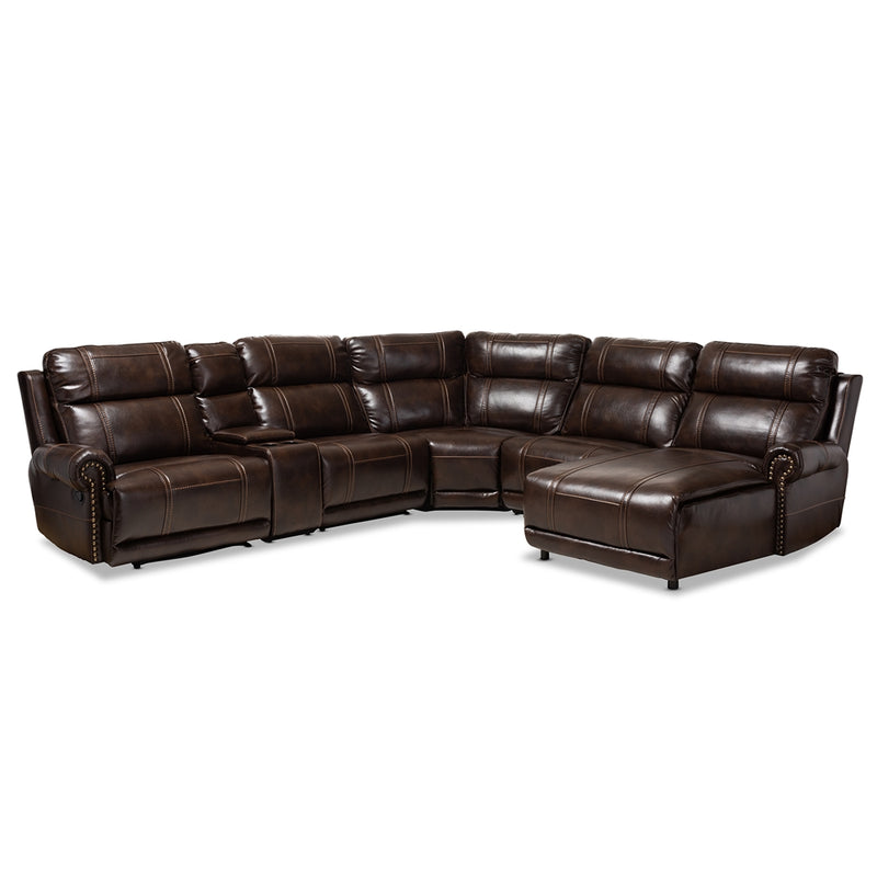 DACIO MODERN AND CONTEMPORARY BROWN FAUX LEATHER UPHOLSTERED 6-PIECE SECTIONAL RECLINER SOFA WITH 2 RECLINING SEATS By Baxton Studio - Ace home goods