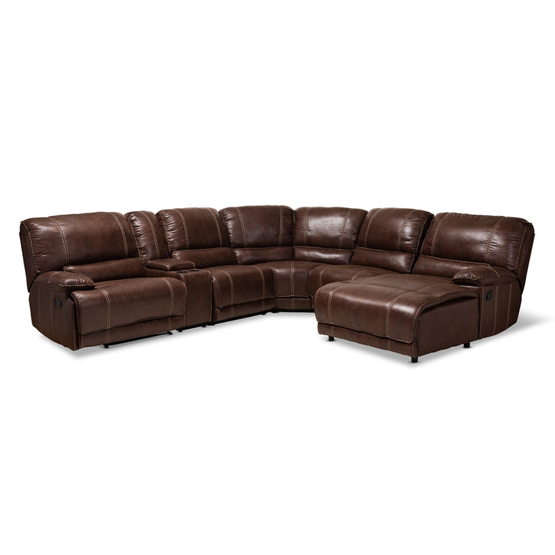 SALOMO MODERN AND CONTEMPORARY BROWN FAUX LEATHER UPHOLSTERED 6-PIECE SECTIONAL RECLINER SOFA WITH 3 RECLINING SEATS By Baxton Studio - Ace home goods
