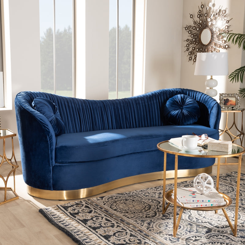 NEVENA GLAM ROYAL BLUE VELVET FABRIC UPHOLSTERED GOLD-FINISHED SOFA By Baxton Studio - Ace home goods
