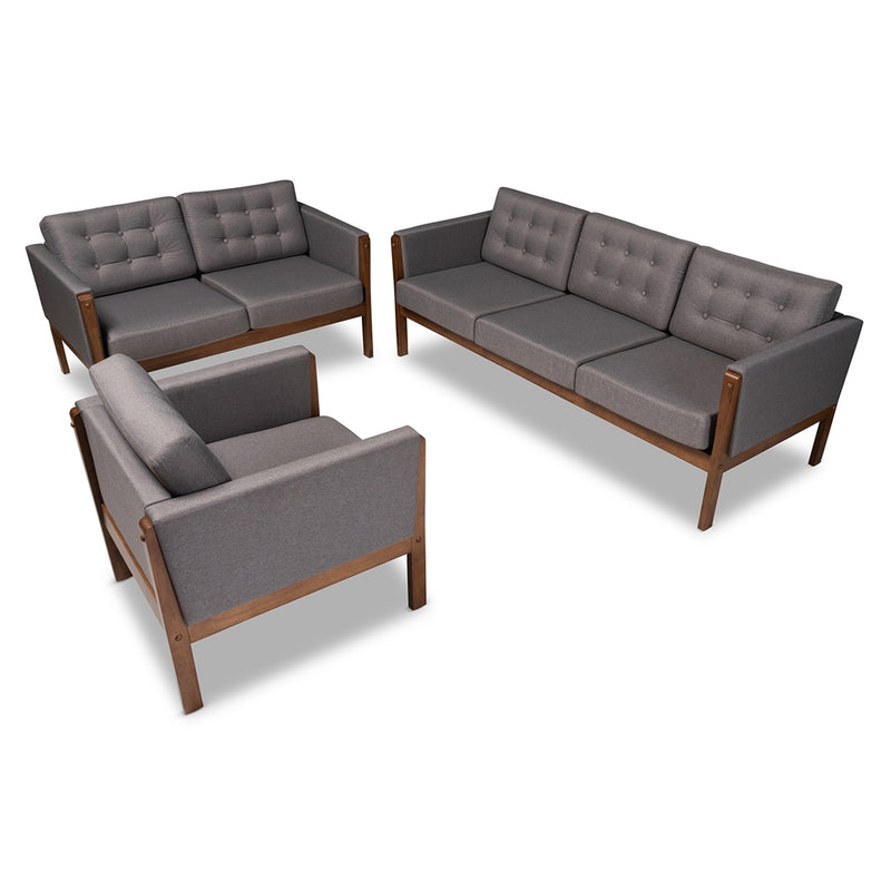 LENNE MID-CENTURY MODERN GREY FABRIC UPHOLSTERED WALNUT FINISHED 3-PIECE LIVING ROOM SET By Baxton Studio - Ace home goods
