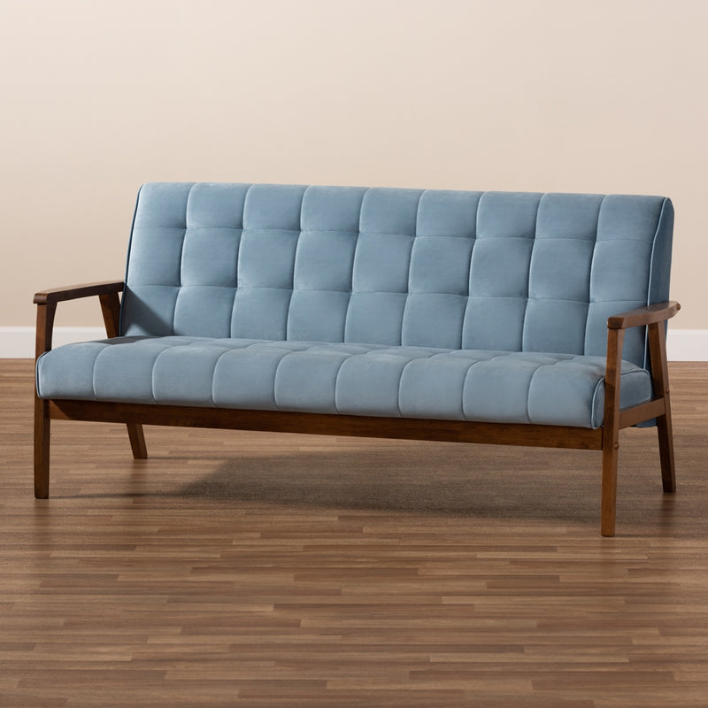 ASTA MID-CENTURY MODERN LIGHT BLUE VELVET FABRIC UPHOLSTERED WALNUT FINISHED WOOD SOFA By Baxton Studio - Ace home goods