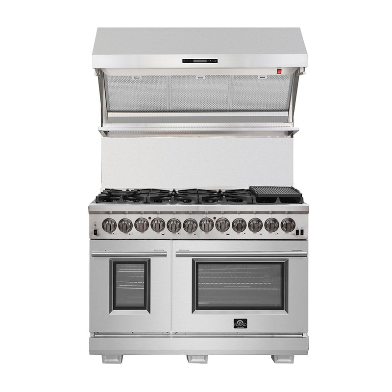 "48 "" Capriasca - Titanium Professional Freestanding Dual Fuel Electric 240V Oven Range By Forno - Ace home goods"