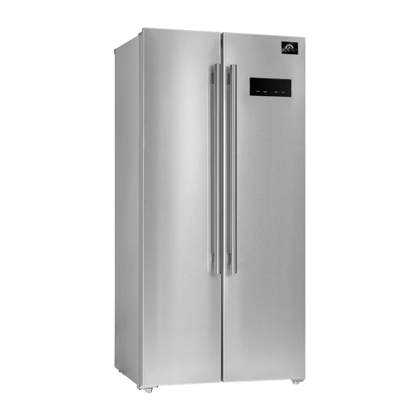 33″ Salerno Freestanding Side-by-side 15.6 cu.ft White Interior Refrigerator By Forno - Ace home goods
