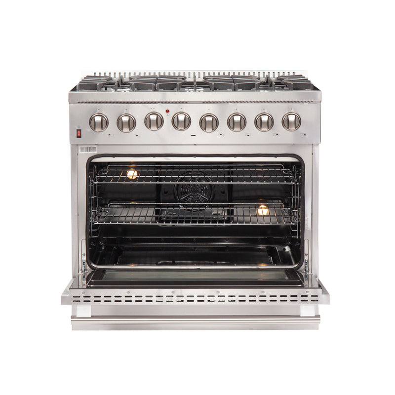 "36"" Galiano - Stainless Steel Professional Freestanding Dual Fuel 240V Electric Oven Range By Forno - Ace home goods"