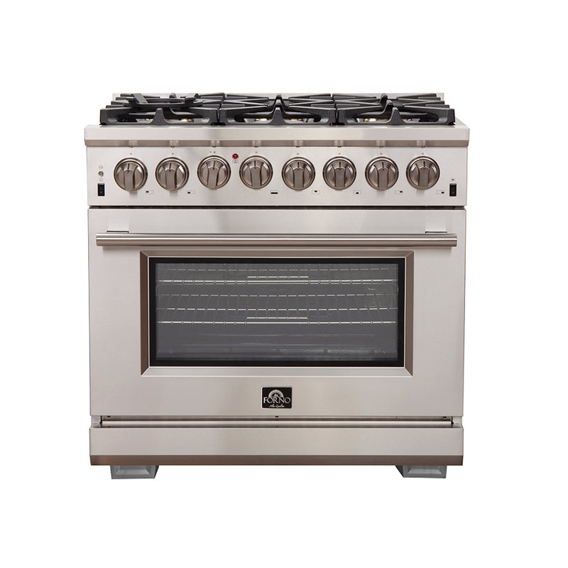 36″ Capriasca - Titanium Professional Freestanding Dual Fuel Electric 240V Oven Range By Forno - Ace home goods
