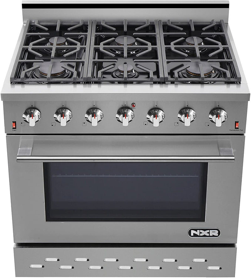 "36"" 5.5 cu.ft. Pro-Style Propane Gas Range with Convection Oven, Stainless Steel By NXR - Ace home goods"