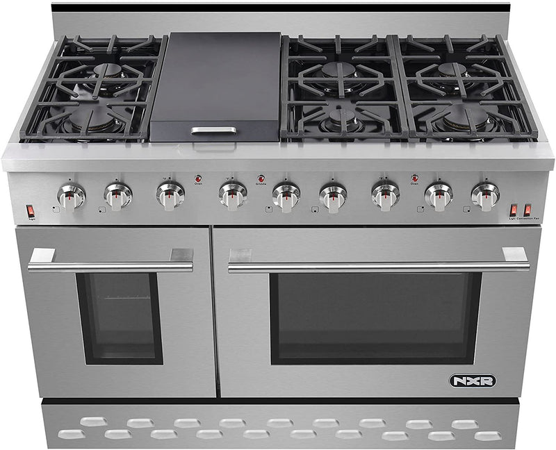 "48"" 7.2 cu.ft. Pro-Style Natural Gas Range with Convection Oven, Stainless Steel By NXR - Ace home goods"