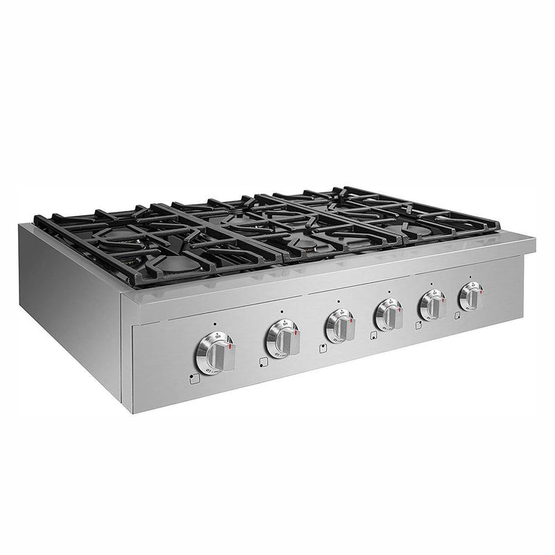 "36"" Pro-Style Propane Gas Cooktop, Stainless Steel By NXR - Ace home goods"