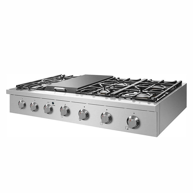 "48"" Pro-Style Natural Gas Cooktop, Stainless Steel By NXR - Ace home goods"
