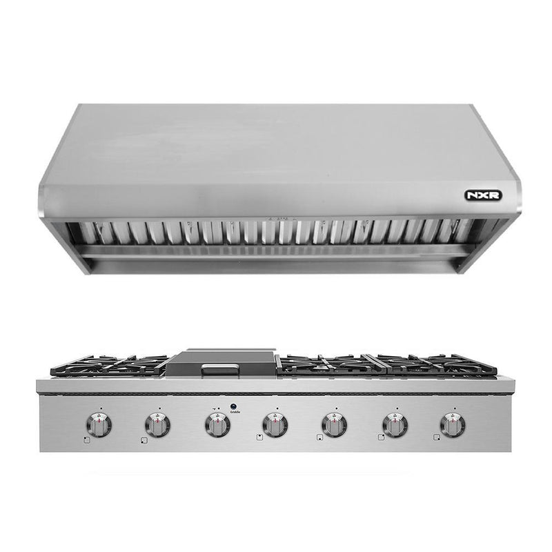 "48"" Natural Gas Cooktop & Under Cabinet Hood Bundle, Stainless Steel By NXR - Ace home goods"