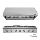 "48"" Propane Gas Cooktop & Under Cabinet Hood Bundle, Stainless Steel By NXR - Ace home goods"