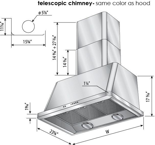 60 Inch Stainless Steel Wall Mount Convertible Hood By ILVE - Ace home goods
