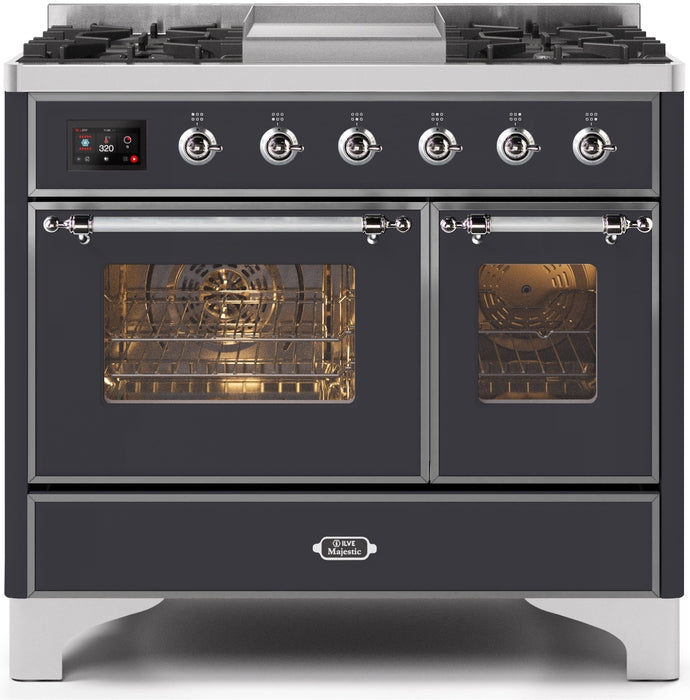 40 Inch Matte Graphite Dual Fuel Natural Gas Freestanding Range Majestic II Series By ILVE - Ace home goods