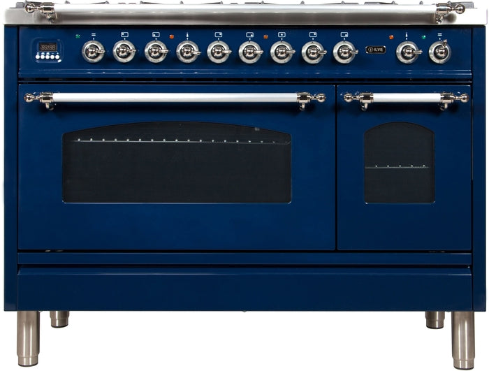 48 Inch Blue Dual Fuel Liquid Propane Freestanding Range Nostalgie Series By ILVE - Ace home goods