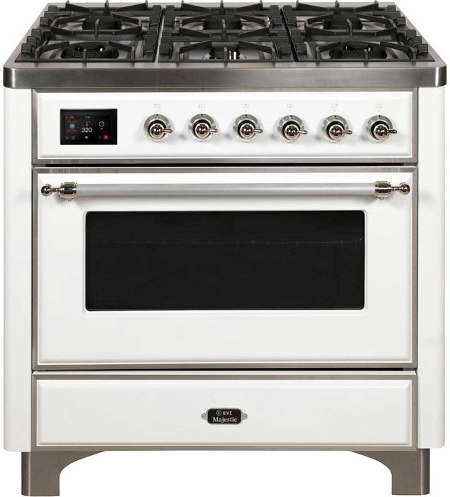 36 Inch WHITE Dual Fuel Natural Gas Freestanding Range Majestic II Series By ILVE - Ace home goods