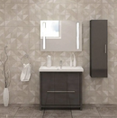Alessio 36″ Glossy Gray Ceramic Bathroom Vanity By Casa Mare - Ace home goods