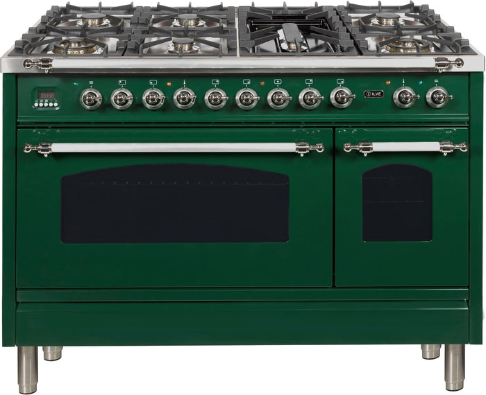 48 Inch Emerald Green Dual Fuel Natural Gas Freestanding Range Nostalgie Series By ILVE - Ace home goods