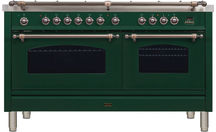 60 Inch Emerald Green Dual Fuel Liquid Propane Freestanding Range Nostalgie Series By ILVE - Ace home goods