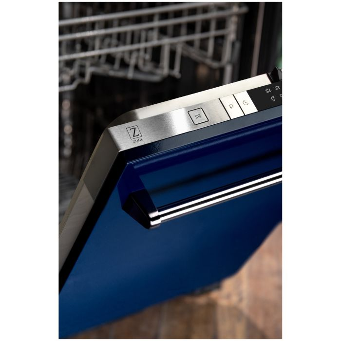 24 IN. TOP CONTROL DISHWASHER IN BLUE GLOSS WITH STAINLESS STEEL TUB AND TRADITIONAL STYLE HANDLE By Zline - Ace home goods