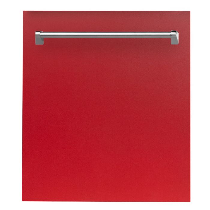 24 IN. TOP CONTROL DISHWASHER IN RED MATTE WITH STAINLESS STEEL TUB AND TRADITIONAL STYLE HANDLE By Zline - Ace home goods