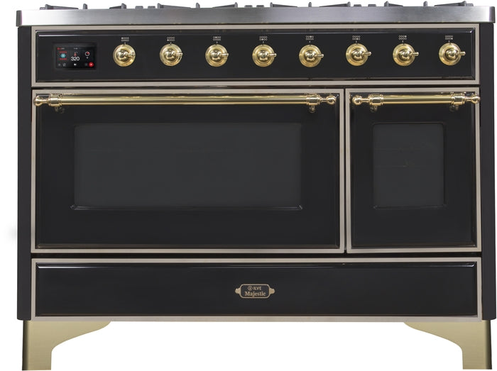 48 Inch Glossy Black Dual Fuel Natural Gas Freestanding Range Majestic II Series By ILVE - Ace home goods