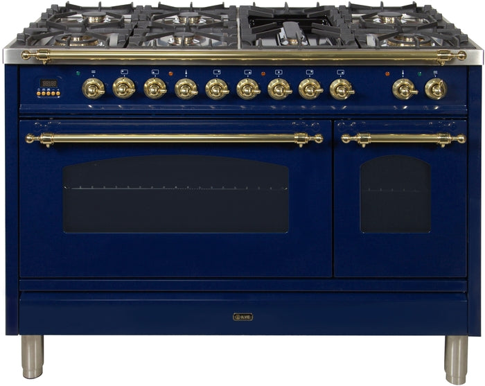 48 Inch Blue Dual Fuel Natural Gas Freestanding Range Nostalgie Series By ILVE - Ace home goods