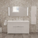 Alessio 60″ Glossy White Acrylic Bathroom Vanity By Casa Mare - Ace home goods