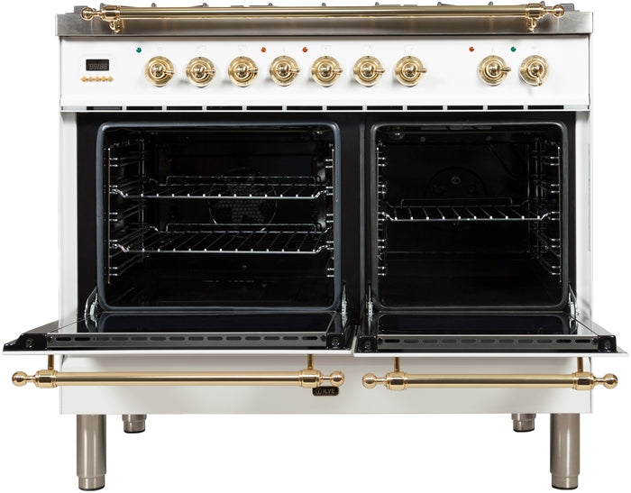 40 Inch White Dual Fuel Natural Gas Freestanding Range Nostalgie Series By ILVE - Ace home goods