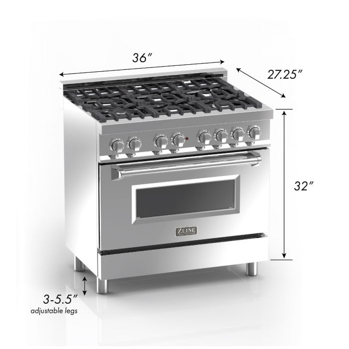 36 IN. PROFESSIONAL DUAL FUEL RANGE IN DURASNOW® STAINLESS STEEL WITH BLACK MATTE DOOR By Zline - Ace home goods