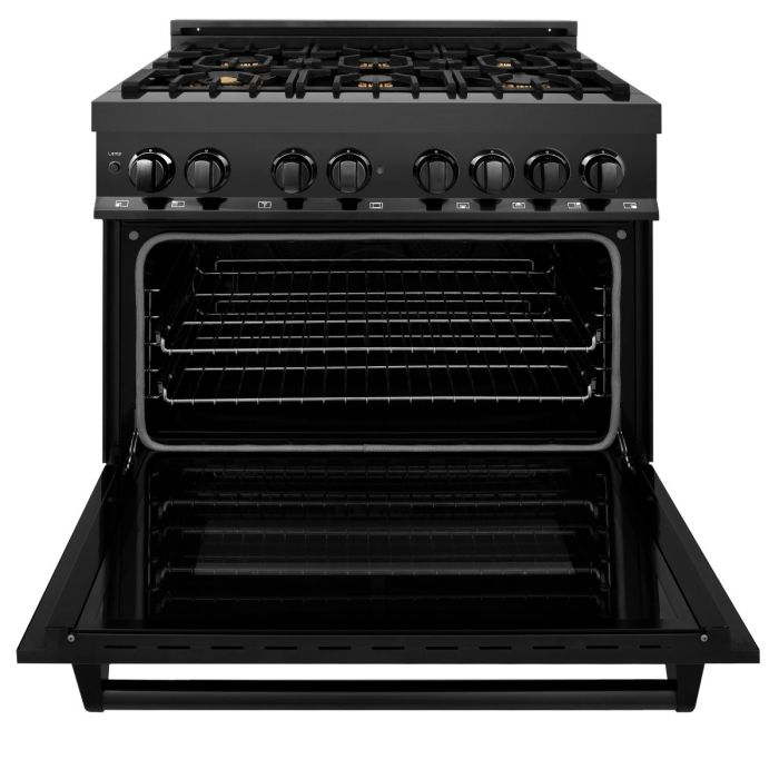 "36"" BLACK STAINLESS 4.6 CU.FT. 6 GAS BURNER/ELECTRIC OVEN RANGE WITH BRASS BURNERS By Zline - Ace home goods"