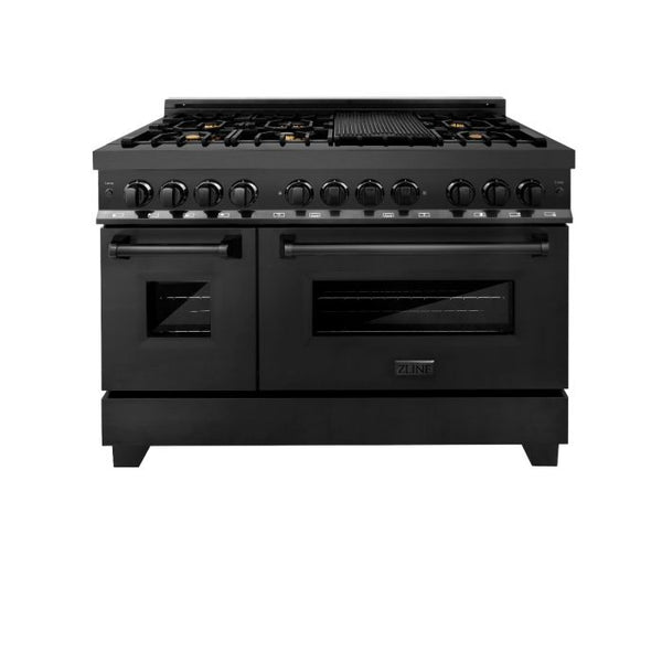 "48"" BLACK STAINLESS 6.0 CU.FT. 7 GAS BURNER/ELECTRIC OVEN RANGE WITH BRASS BURNERS By Zline - Ace home goods"