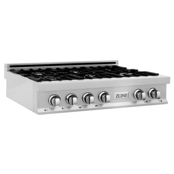36 IN. PORCELAIN RANGETOP IN DURASNOW® STAINLESS STEEL WITH 6 GAS BURNERS By Zline - Ace home goods