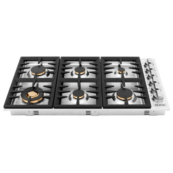 36 IN. DROPIN COOKTOP WITH 6 GAS BRASS BURNERS By Zline - Ace home goods