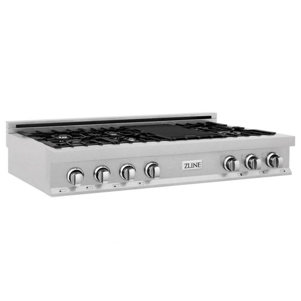 48 IN. PORCELAIN RANGETOP IN DURASNOW® STAINLESS STEEL WITH 7 GAS BURNERS By Zline - Ace home goods