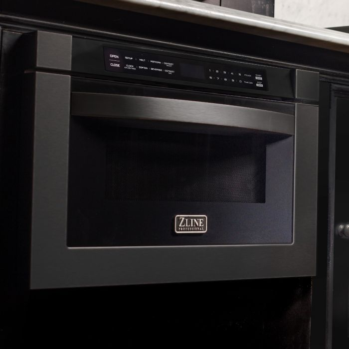 "24"" 1.2 CU. FT. MICROWAVE DRAWER IN BLACK STAINLESS STEEL By Zline - Ace home goods"