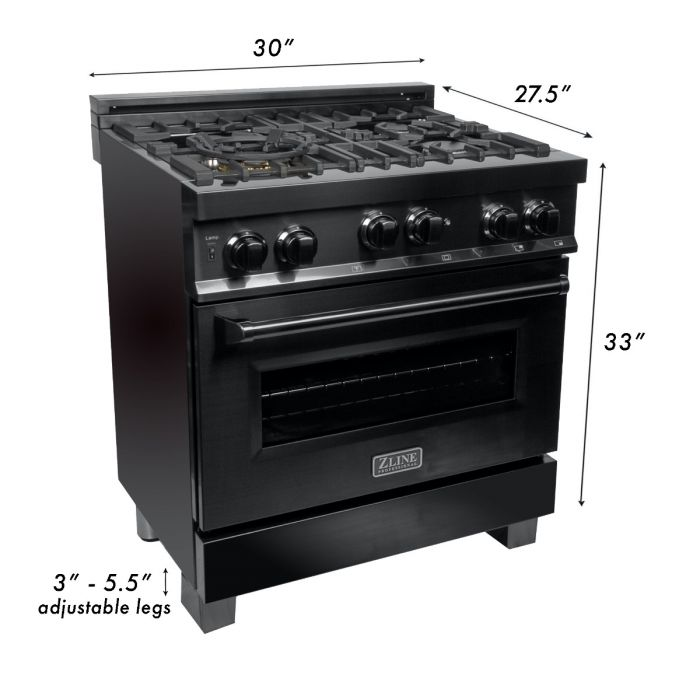 30 IN. PROFESSIONAL 4.0 CU. FT. 4 GAS ON GAS RANGE IN BLACK STAINLESS STEEL By Zline - Ace home goods