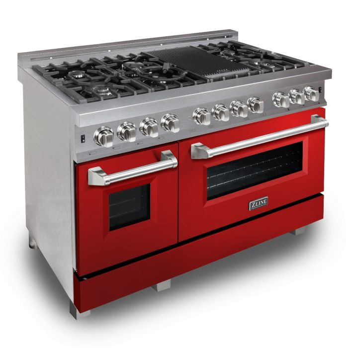 48 IN. PROFESSIONAL DUAL FUEL RANGE IN DURASNOW® STAINLESS STEEL WITH RED GLOSS DOOR By Zline - Ace home goods