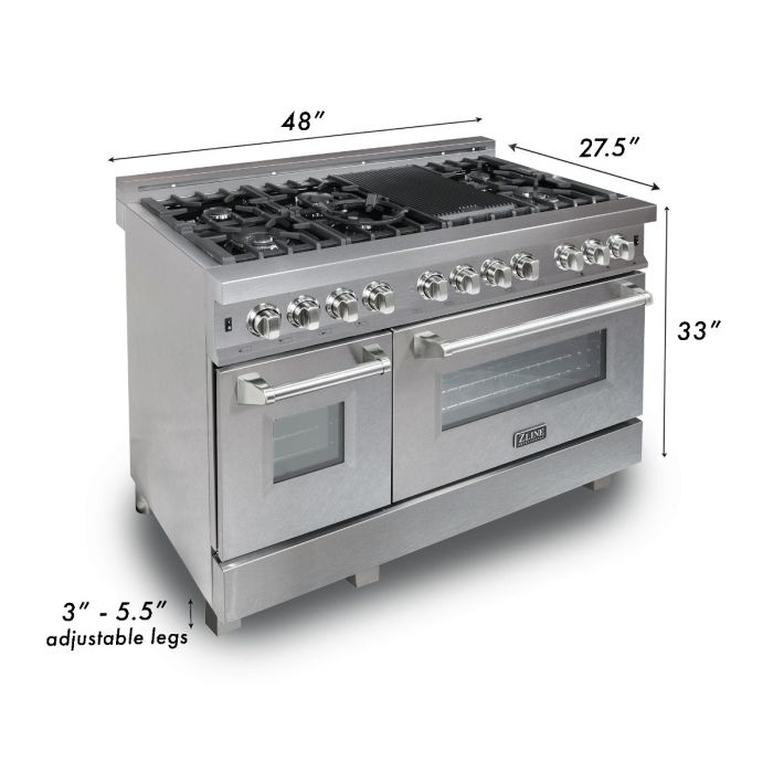 48 IN. PROFESSIONAL DUAL FUEL RANGE IN DURASNOW® STAINLESS STEEL WITH WHITE MATTE DOOR By Zline - Ace home goods
