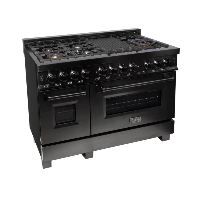 "48"" BLACK STAINLESS STEEL 6.0 CU.FT. 7 GAS BURNER/ELECTRIC OVEN RANGE By Zline - Ace home goods"