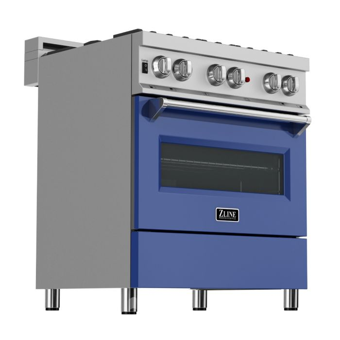 30 IN. PROFESSIONAL DUAL FUEL RANGE IN DURASNOW® STAINLESS STEEL WITH BLUE MATTE DOOR By Zline - Ace home goods
