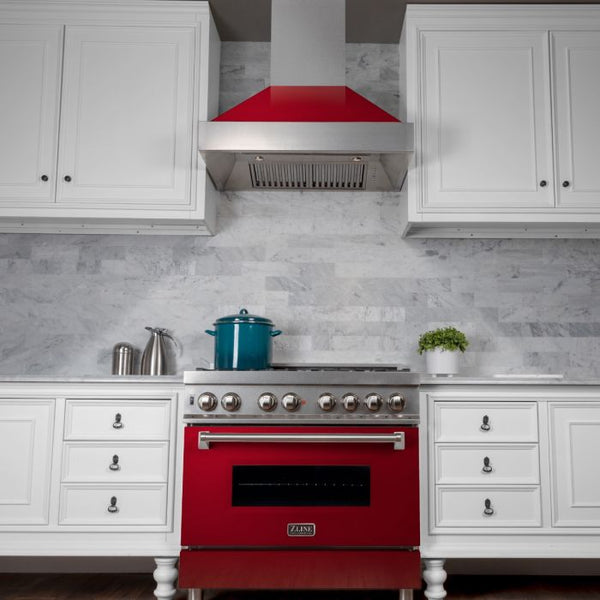 36 IN. PROFESSIONAL DUAL FUEL RANGE IN DURASNOW® STAINLESS STEEL WITH RED GLOSS DOOR By Zline - Ace home goods