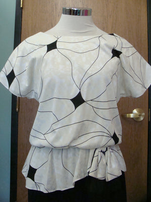 BLACK and WHITE DRESS 1970's 1980's peplum S M (B3)