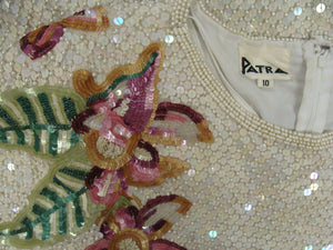 gorgeous PATRA ART DECO dress beading sequins shift M (D2)