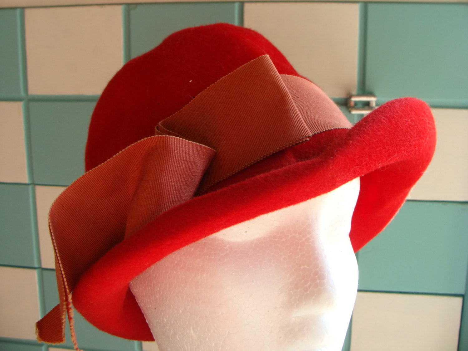 BRIGHT RED wool felt HAT vintage 1960's 60's fedora type