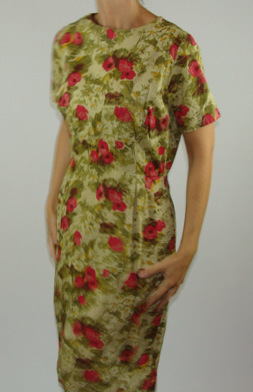 GREEN FLORAL wiggle DRESS day vintage mad men 1960's 60's M (A3)