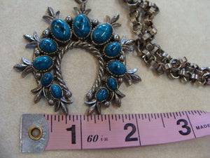 TURQUOISE HORSESHOE PENDANT art jewelry vintage necklace