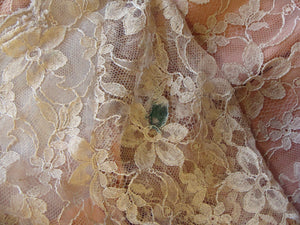 VINTAGE LACE OVERLAY dress blush sheath wiggle xs S (D10)