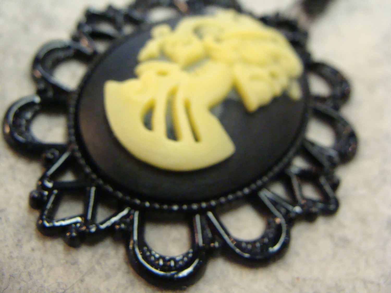 CREEPY SKELETON CAMEO woman lady scary necklace goth